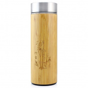 Thermos Silver Insulated Bottle Vacuum Bottle Travel Tumbler,360ml,Bamboo Thermos Bottle