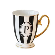 "Bombay Duck Alphabet Stripy Mug Letter ""P"" Black/White with Gold handle"