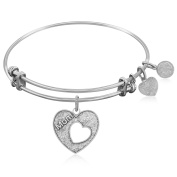 """Silver-Plated Brass Expandable Bangle with """"Mother's Special Love"""" Symbol"""