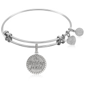 """Silver-Plated Brass Expandable Bangle with """"Brides Maid"""" Symbol"""