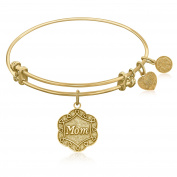 """Yellow Gold-Plated Brass Expandable Bangle with """"Mom"""" Symbol"""