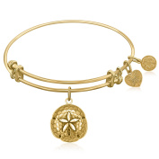 """Yellow Gold-Plated Brass Expandable Bangle with """"Sand Dollar"""" Symbol"""