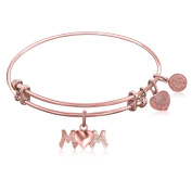 """Rose Gold-Plated Pink Brass Expandable Bangle with """"Mom"""" Symbol"""
