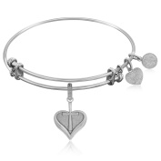 """Silver-Plated Brass Expandable Bangle with """"Heart with """"Cross"""" Symbol"""