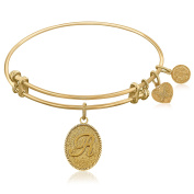 """Yellow Gold-Plated Brass Expandable Bangle with """"Initial R"""" Symbol"""