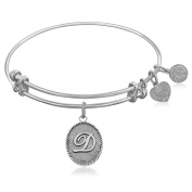 """Silver-Plated Brass Expandable Bangle with """"Initial D"""" Symbol"""