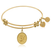 """Yellow Gold-Plated Brass Expandable Bangle with """"Initial Y"""" Symbol"""