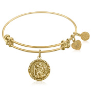 """Yellow Gold-Plated Brass Expandable Bangle with """"St. Christopher Protection"""" Symbol"""