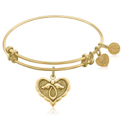 """Yellow Gold-Plated Brass Expandable Bangle with """"Angel Comfort Hope"""" Symbol"""