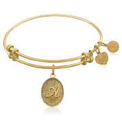 """Yellow Gold-Plated Brass Expandable Bangle with """"Initial A"""" Symbol"""
