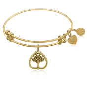 """Yellow Gold-Plated Brass Expandable Bangle with """"Tree Of Life Growth Maturity"""" Symbol"""