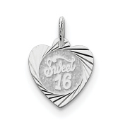 Sterling Silver Sweet Sixteen Heart Disc Charm