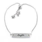 Daughter Script Silver Bar Adjustable Bracelet