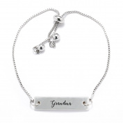 Grandma Script Silver Bar Adjustable Bracelet