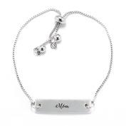 Mom Script Silver Bar Adjustable Bracelet