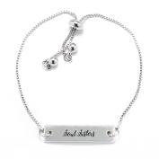 Soul Sisters Script Silver Bar Adjustable Bracelet