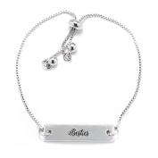 Besties Script Silver Bar Adjustable Bracelet