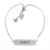 Middle Sis Script Silver Bar Adjustable Bracelet