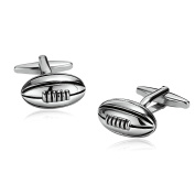 Gnzoe Men Stainless Steel Shirt Cuff Links Wedding Business Football Rugby Silver Black