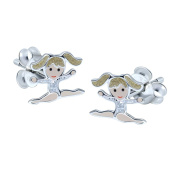 Sterling Silver Gymnastic Girl Earrings - Blonde Hair with Silver Leotard