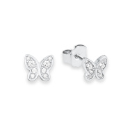 s.Oliver 567640 Teenage Girls' Butterflies Pierced Earrings in Rhodium-Plated 925 Silver, White Zirconia
