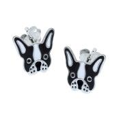 Black French Bulldog Earrings - Sterling Silver