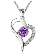 Women's 925 Silver Cubic Zirconia Heart Pendant Crystal Necklace Love in Heart With 46cm Chain