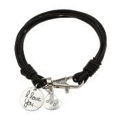 Black leather strand bracelet with 'I love you' & 'Dad' Tag Charm For Men Gift Idea