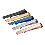 Skinny Tie Clip Set 5PCS Classic Simple Style 18K Gold Plated / Rose Gold / Black / Silver / Blue Colour Male Business Necktie Clip Pin Bar Clasp Men Jewellery Christmas Gift