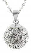 Shamballa ball pendant size 12mm ball CZ crystal with adjustable silver plated chain necklace