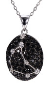 Capricornus Black Spinel & White Topaz Pendant Solid 925 Sterling Silver Necklace Sign Fine Jewellery Birthday Gift
