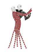 Signature Tiara Diamante Black & Red Crystal dancing Couple Brooch in Silver Tone
