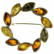 Baltic amber and sterling silver 925 multi-coloured flower leaf brooch pin jewellery jewellery