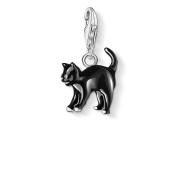 Thomas Sabo Women-Charm Pendant Cat Charm Club 925 Sterling Silver black 0701-007-11