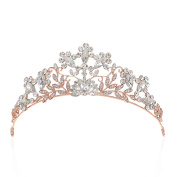 SWEETV Shining Rhinestone Tiara Crystal Crown Wedding Hair Accessories Jewelled Head Pieces for Women