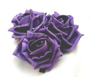 3 Light Purple Roses Cluster Artificial Hair Flowers Corsage Clip Hand Made in Uk 11cm