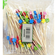 ADIASEN 100pcs 12cm Natural Bamboo Party Cocktail Pick Toothpicks Sticks Disposable Accessories