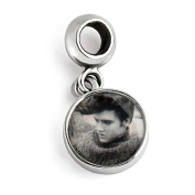 Sterling Silver Elvis Sweater Round Dangle Bead Charm