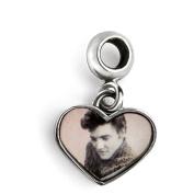 Sterling Silver Elvis Heart Dangle Bead Charm