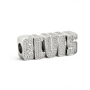 Sterling Silver ELVIS Crystal Letters Bead Charm