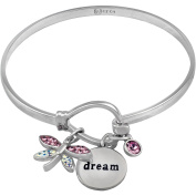 """Truly Inspired Crystal Fine Silver-Tone Dragonfly """"Dream"""" Bangle"""