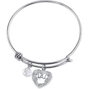 Disney Minnie Mouse Women's Stainless Steel I'll Be Your Minnie Crystal Heart and 8mm Clear Bead Bangle