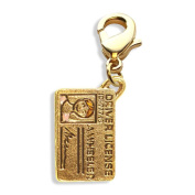 Driver's Licence Charm Dangle in Gold
