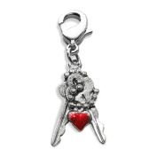 Keys with Heart Charm Dangle in Silver