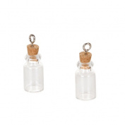 22Mm Glass Bottle Charm Cork Stopper 2Pc