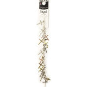 Mixed Metal Cross Charm Chain Strand, 28 Pieces