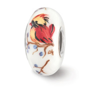 Fenton White Hand Painted Lady Cardinal Glass & Sterling Silver Charm