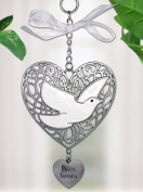 Peace Serenity Filigree Heart Ornament with White Dove and Engraved Heart Charm Pewter Metal 11cm