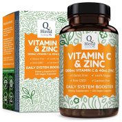 Vitamin C 1200mg with Zinc 40mg, 120 Vegetarian Capsules High Potency Immune System Booster Supplement, Made in the UK by Nutravita