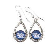 Kentucky Wildcats Teardrop Crystal Blue Charm Earring French Hook Jewellery UK
